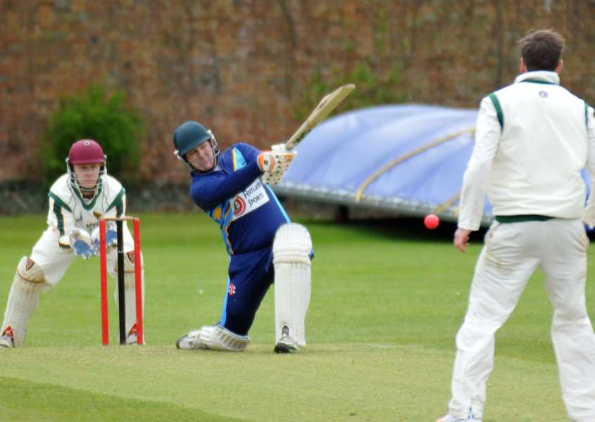 David Greenfield hits out for Bourne in the match against Grantham. Photo: Tim Wilson.
