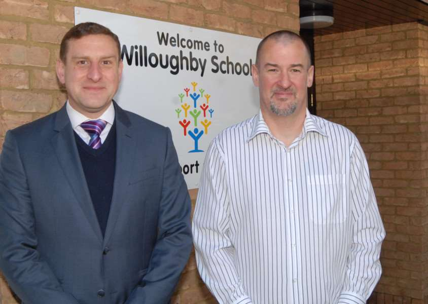 Willoughby School headteacher James Husbands and parent-governor David Conlon who are raising funds
