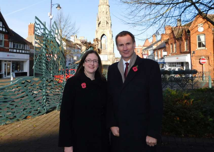 New Conservative candidate for Sleaford and North Hykeham by-election Dr Caroline Johnson and Health Secretary Jeremy Hunt. EMN-161111-130158001