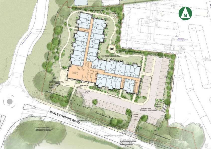 An ariel view of McCarthy and Stone's proposed retirement complex on the former Lonsdale House site in Oakham. EMN-150930-103634001