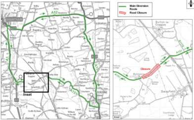 Map of the diversion route, provided by Lincolnshire County Council.