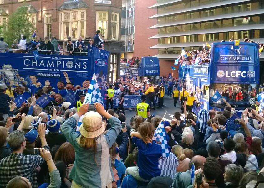Leicester City's victory parade makes its way along Rutland Street in the city EMN-160519-132940001