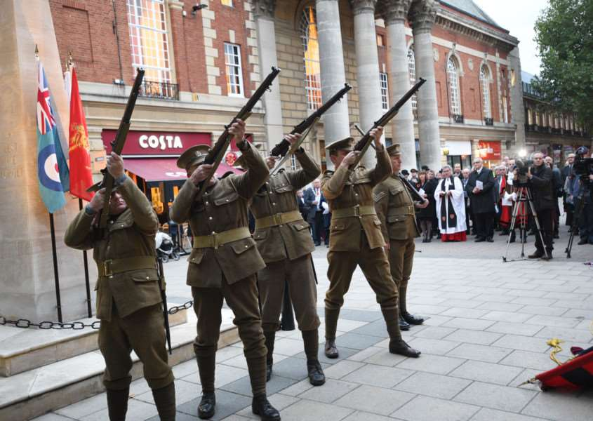 The ceremony in Bridge Street in memory of executed nurse Edith Cavell. Picture David Lowndes