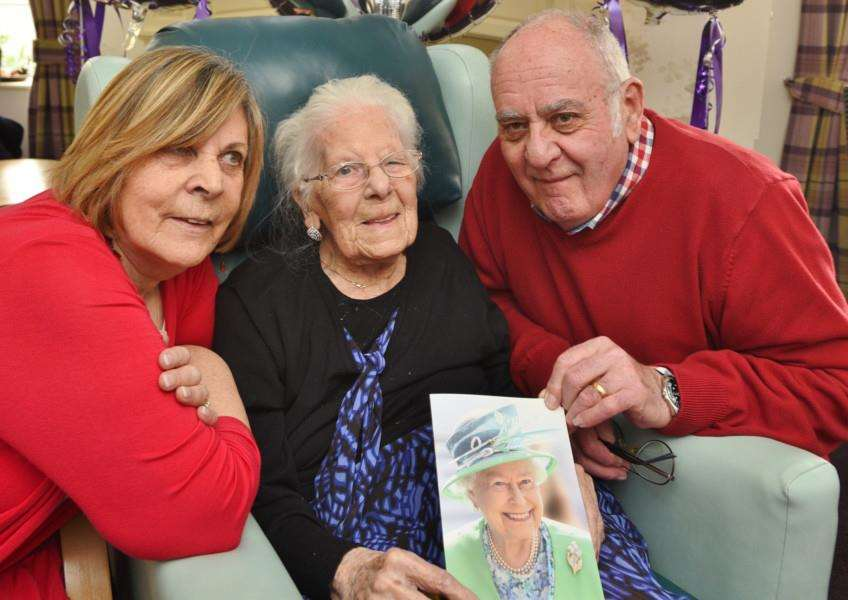 106 years-old today Edna Fessey at the Priory Care Home at Stamford EMN-161202-182555009