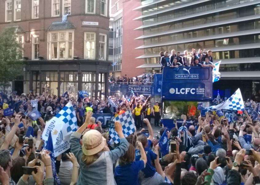 Leicester City's victory parade makes its way along Rutland Street in the city EMN-160519-132430001