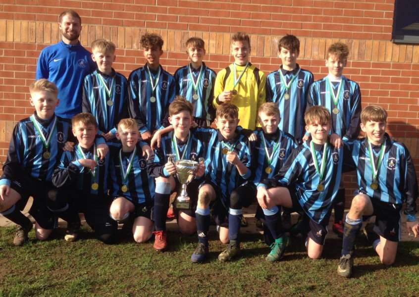 Pictured with coach Mr Hipwell are, back from left, Harvey Henderson, Freddie Fraser, Alfie Fox, Max Rigby, Beck McCarthy, Finley Nottingham; front, Finlay Henderson, Harrison Pearce, Harry Barsby, Jamie Allen, Adam Blackbird, Larson Cook, Archie Rickards, Oliver Tooth.