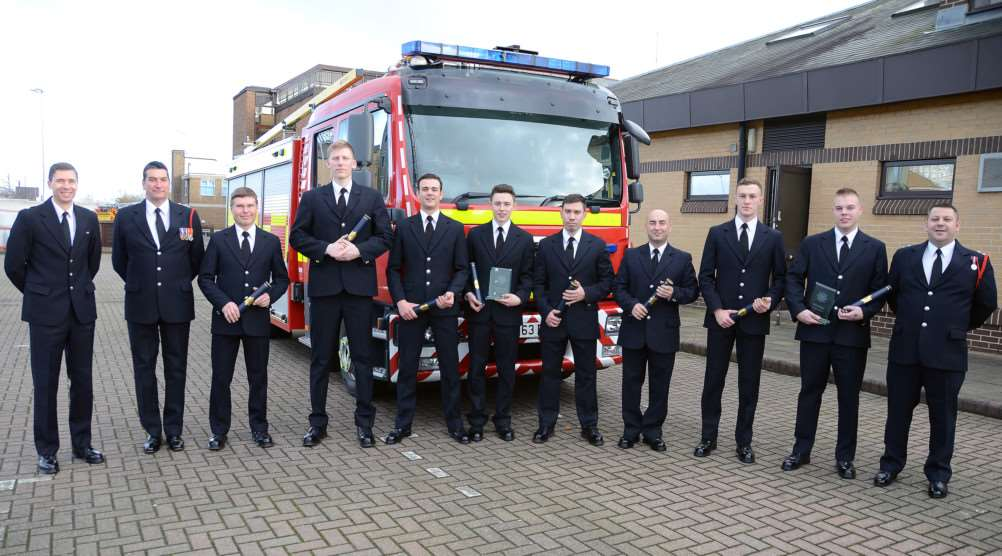From left, Watch Manager James Baker, Watch Manager Chris Warwick, FF Joe Durso, FF Harry Foster, FF Charles Whittam, FF Kyle Sellars (Course Award), FF Mantas Sorstovas, FF Marcel Musat, FF Joshua Fowler, FF David Woodthorpe (Trainers Award), Watch Manager Daniel Hill