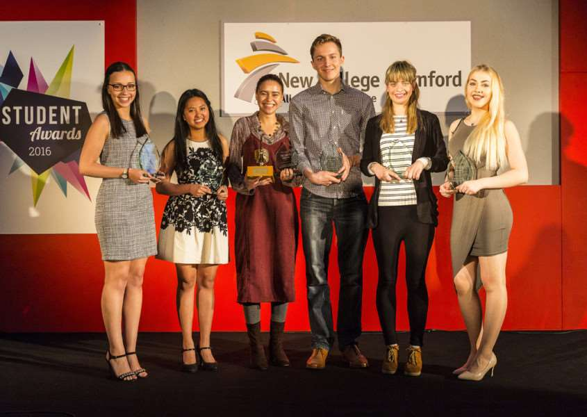 New College Stamford's End of Year Student Awards winners (from left) Sophie Rodgers, Hydie Pangiban, Victoria Kelly-Gobuiwang, Ryan Whomes, Siana Long and Megan Thompson O-Connor.