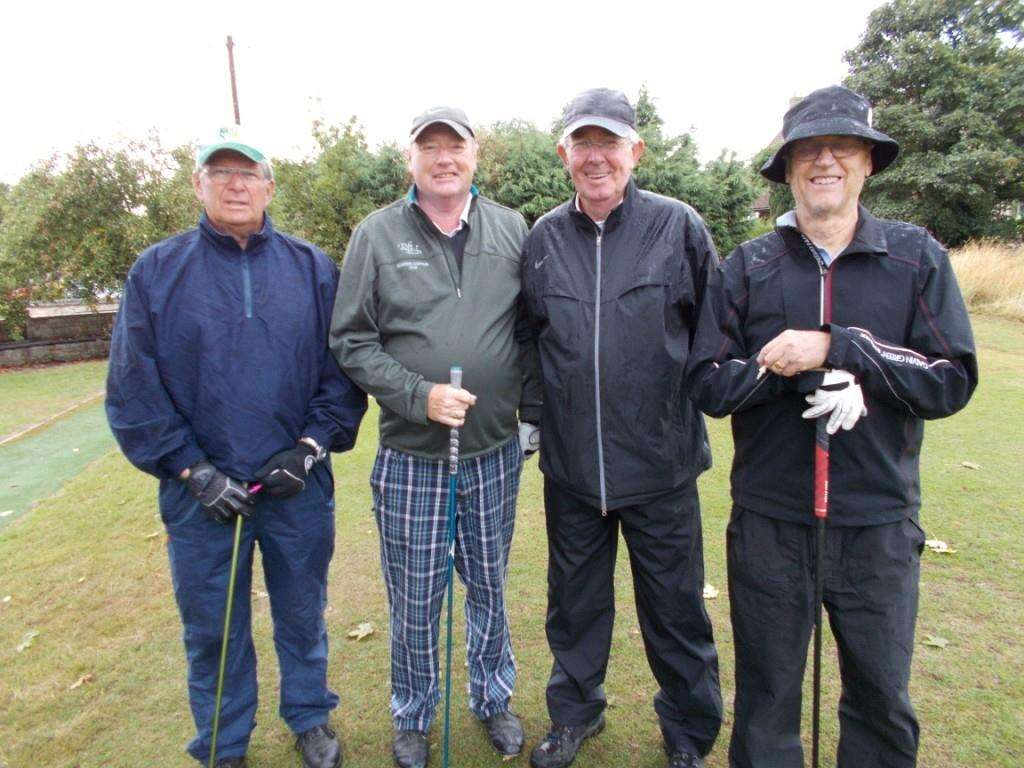 Paul Stark, Richard Shuttlewood, captain Peter Henderson and Bernard Peel prepare to tee off. (3894284)