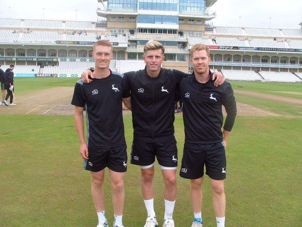 Joey Evison (left) with fellow debutants Ben Compton and Jack Blatherwick.