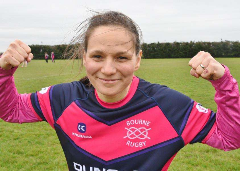 Cancer fighter Heidi Rock at Bourne Rugby Club's Fight Like A Girl Day for Cancer Research UK. Photo by Tim Wilson.