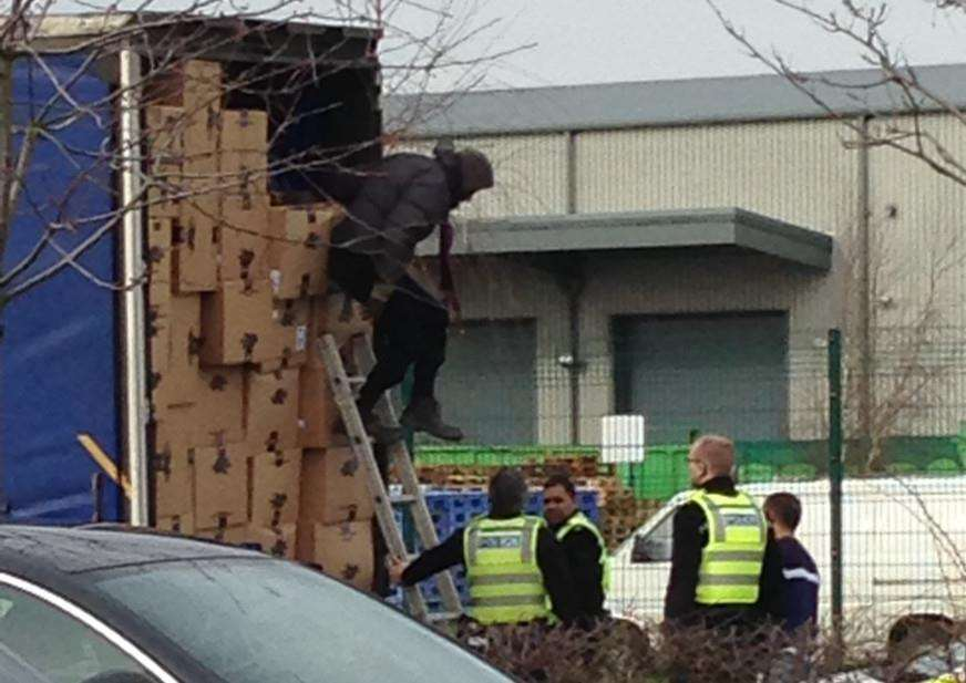 Suspected illegal immigrant gets out of the lorry. Pic: Kyle Kirkland.