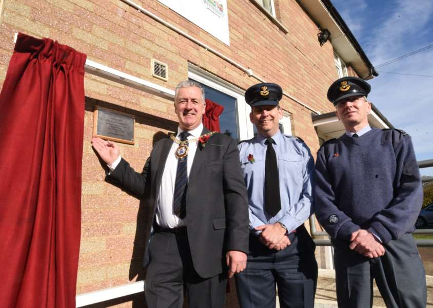 Mayor, David Sanders with Sg Ldr Mark Hassall and Wing Commander Mike Ainsworth at the opening of the Wittering Community Learning Centre EMN-160211-173316009