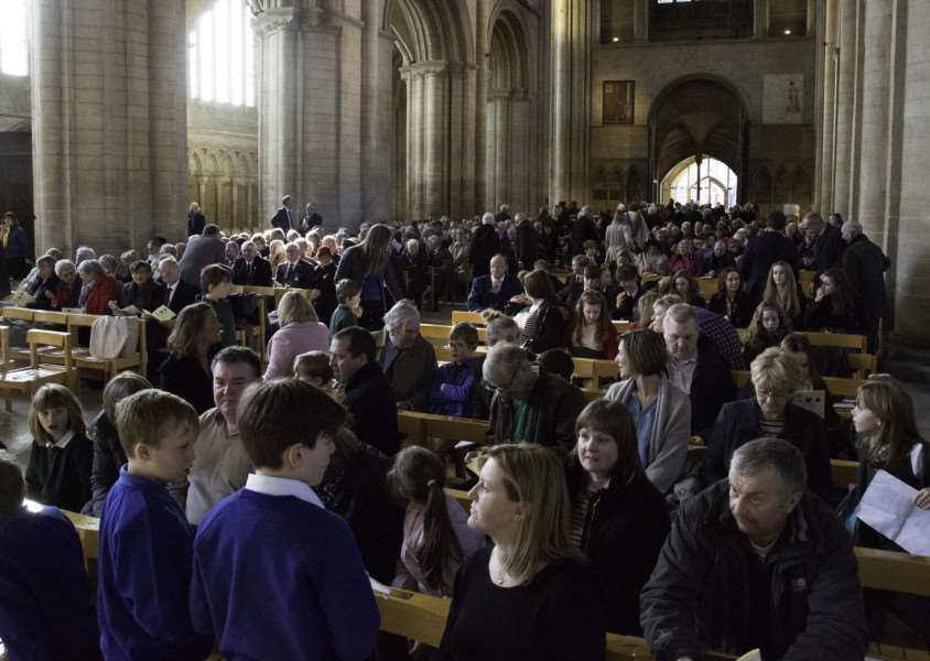 The congregation gathers for the Rutland service in Peterborough Cathedral