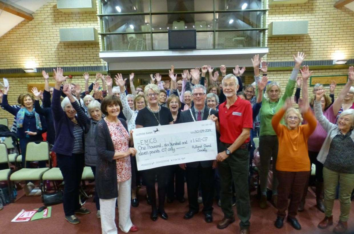 Rutland Choral Society present the cheque to EMICS