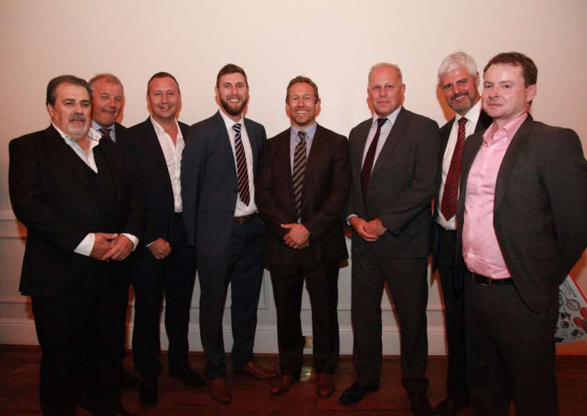 Leicestershire business people with Jonny Wilkinson at the charity dinner