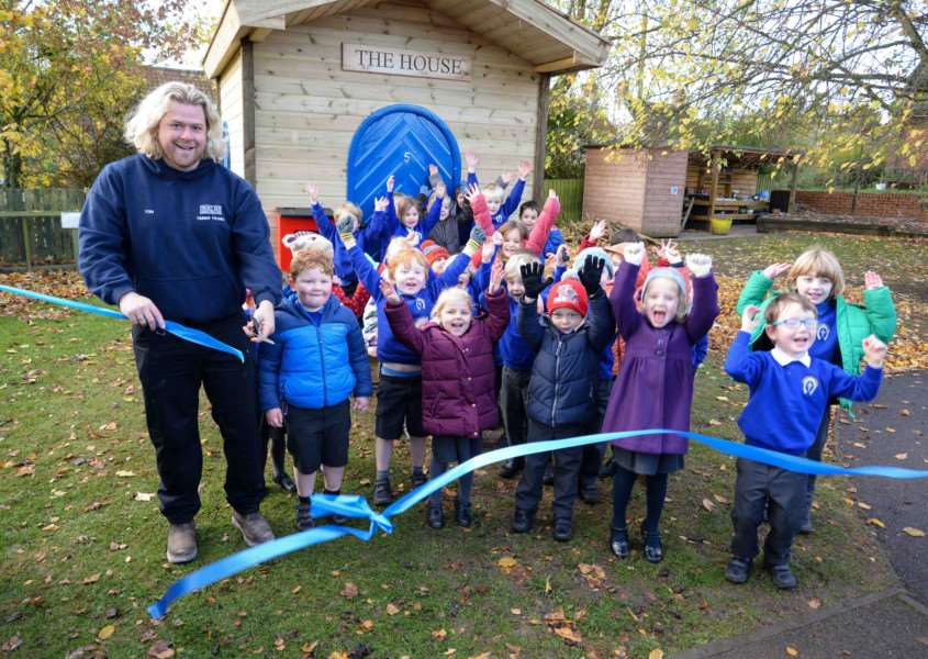 A new outdoor playhouse is installed at Whissendine Primary School'Photo: Alan Walters EMN-160711-143932001