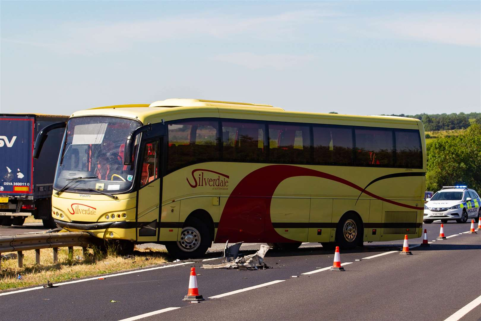 Bus full of children collides with 4X4 on A1 Lincs,A1 Great North Road, ColsterworthMonday 02 July 2018. Picture by Terry Harris www.terry-harris.com (2830363)