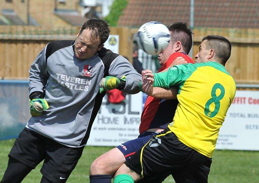 Action from the Peterborough League play-off match between Wittering and Crowland Town Reserves.Photo: David Lowndes.