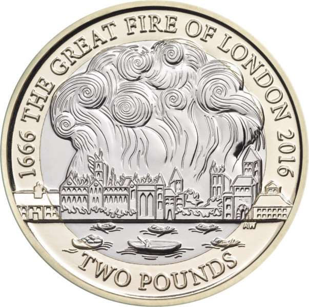 The Great Fire of London is also immortalised.