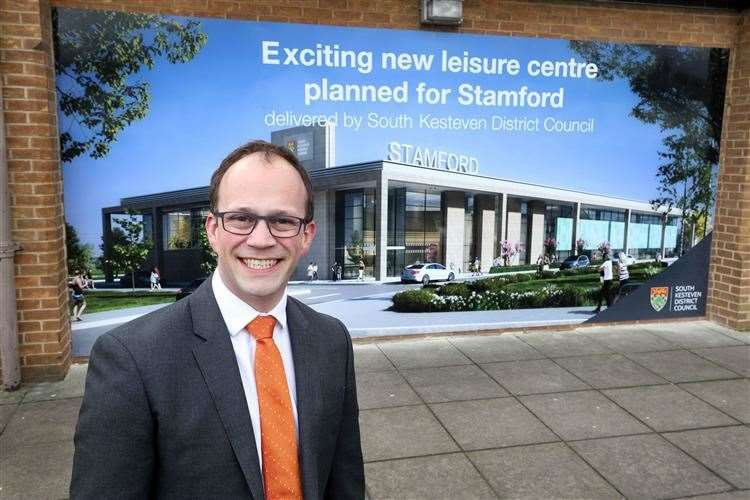 Former leader of South Kesteven District Council Matthew Lee earlier this year, when plans were announced to build a new leisure centre in Stamford