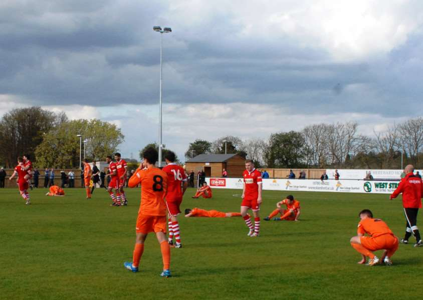 Stamford AFC escape relegation by coming back to beat Witton Albion. Photo: John Evely EMN-150427-150819001