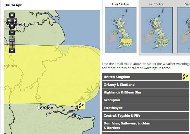A yellow weather warning for rain has been issued by the Met Office