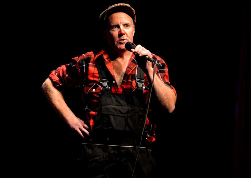Farmer Andrew Brown performing stand up comedy at the Y Theatre in Leicester. Submitted.