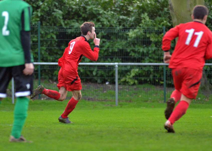 Zak Munton celebrates his winner for Bourne Town against Blackstones on Boxing Day. Photo: Tim Wilson