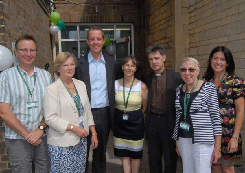 Nick Boles MP (third left) at the opening of Evergreen Care Trust's new office extension at Stamford Hospital with Steve Gorringe, Pam, Dixon, Louise, Marsh, Rev Mark Warrick, Renee Simpson and Katy Hardy. Photo (Jonathan Smith): SM220711-016js. ENGEMN00120110722121933