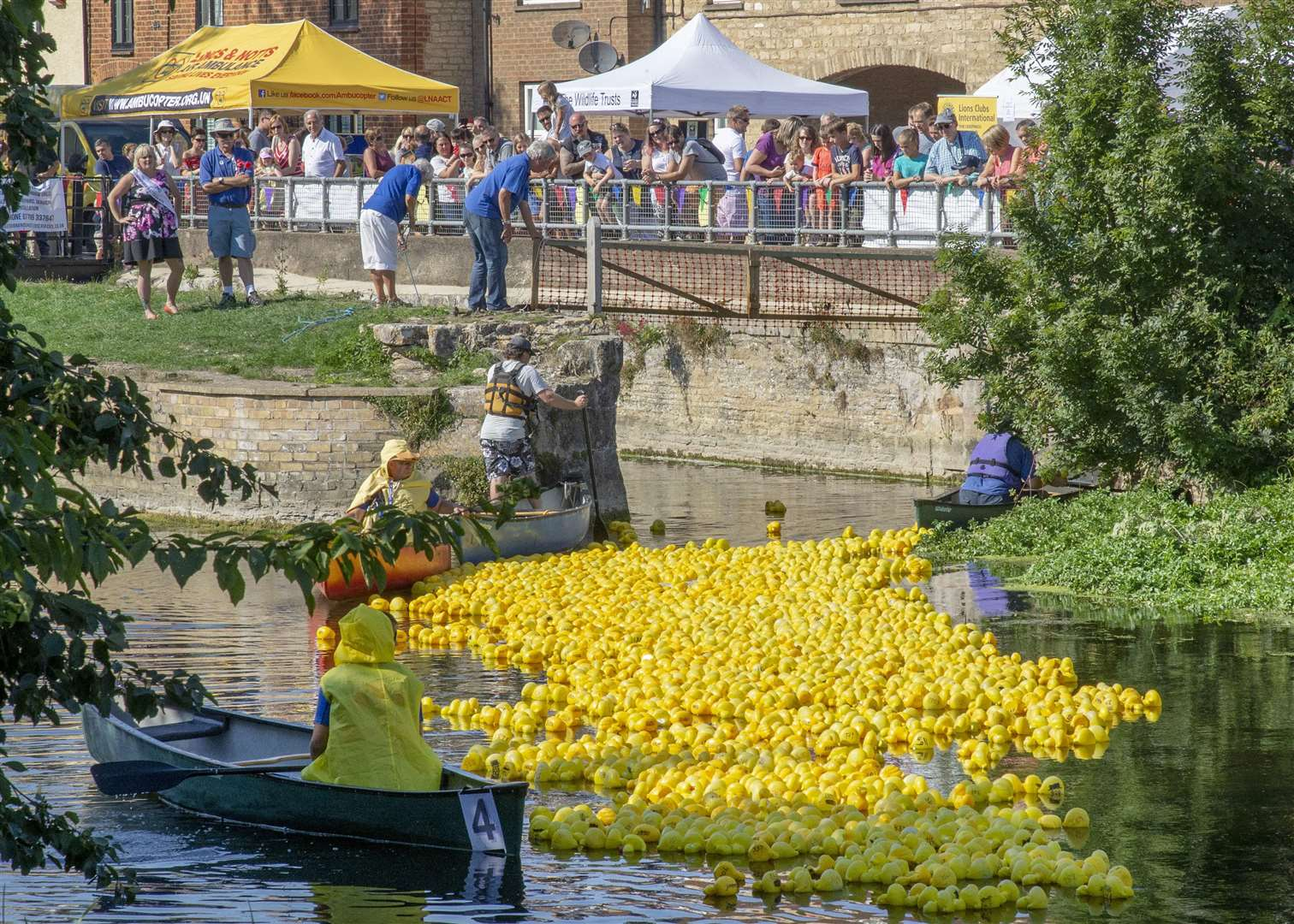 The River Welland in Deeping St James was turned into a sea of yellow on Sunday for the annual Deeping Duck Race