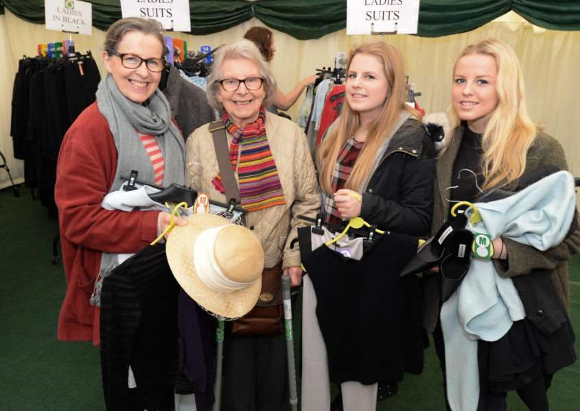Designer clothes sale in aid of For Rutland In Rutland at Barnsdale Lodge. Judith Green with daughters Miranda and Cassandra and Mary Cramp. Photo: Alan Walters MSMP-27-02-15-aw001