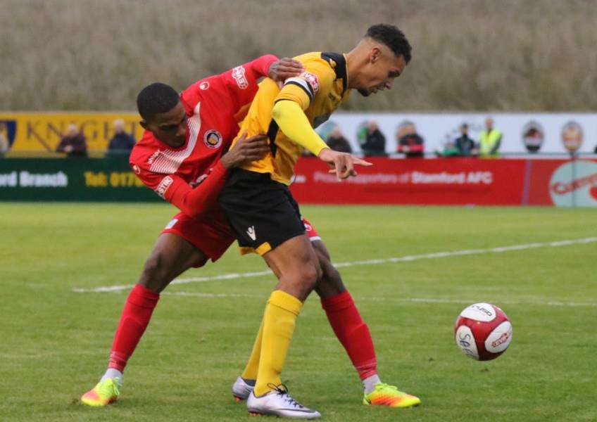 Action from Stamford AFC's 1-0 win in the FA Trophy over Basford United. Photo: Geoff Atton EMN-161110-093149001