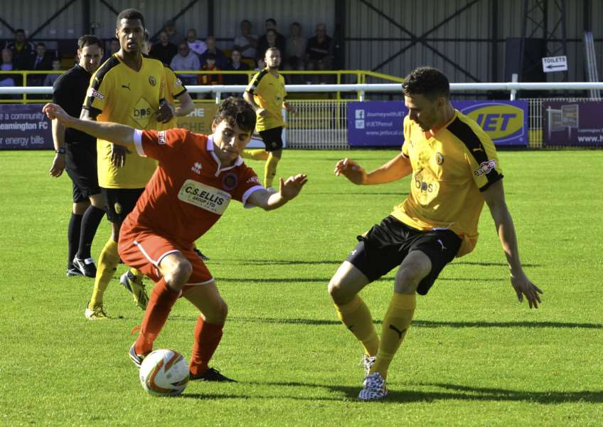 Action from Leamington v Stamford AFC in the FA Cup first round qualifying. Photo: Tim Harris EMN-150914-141545001