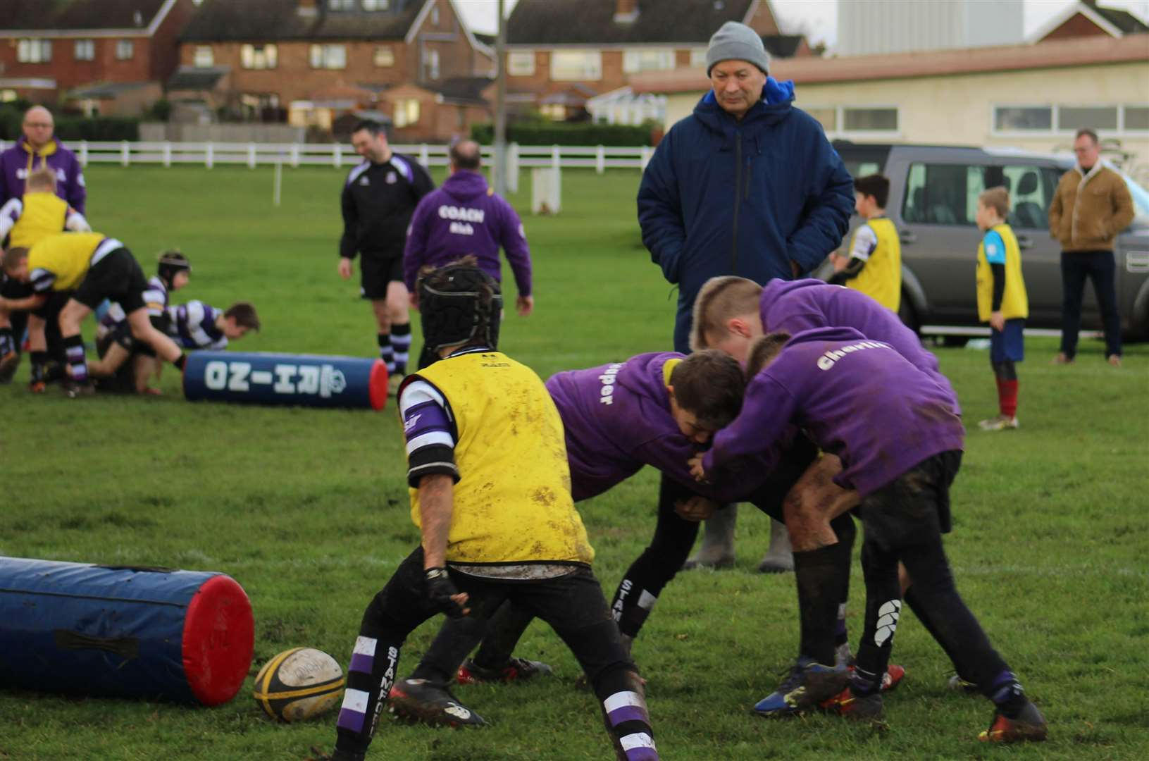 England's head coach Eddie Jones coaching the Under 11s' scrum. Photo: Darren Dolby