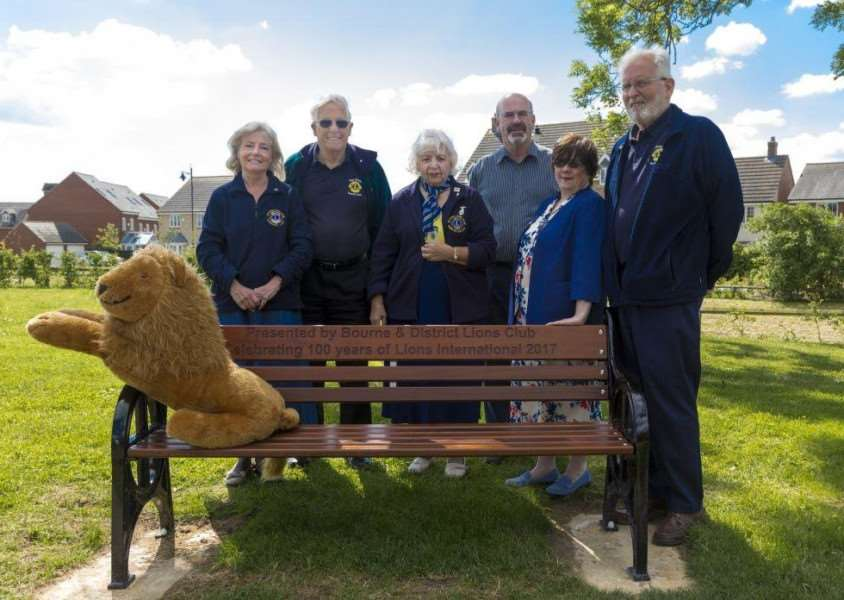 Bourne Lions, from left Margaret Lack, Paul Crosby, Maryse Brown (vice chairman) Barry Cook (Elsea Park centre manager) Bea Laidler (Elsea Park finance officer) and Graham Crane. Submitted