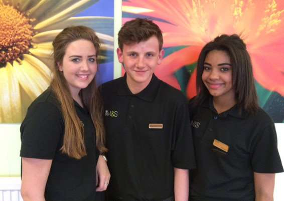 Students from The Deepings School, Emily Greenwood, Oliver Warren and Megan Walker, on work experience at Marks and Spencer.