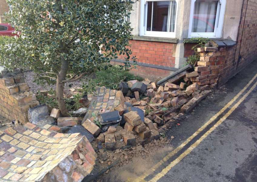 Damage caused after a car hit a wall in Conduit Road, Stamford. EMN-160118-125512001