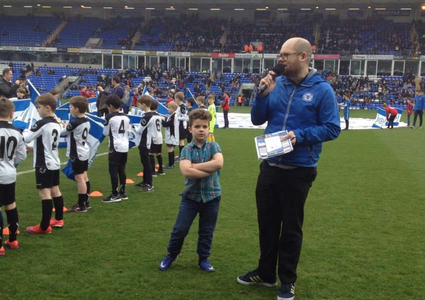 Charlie Cross pictured during the Junior Takeover Day at Peterborough United