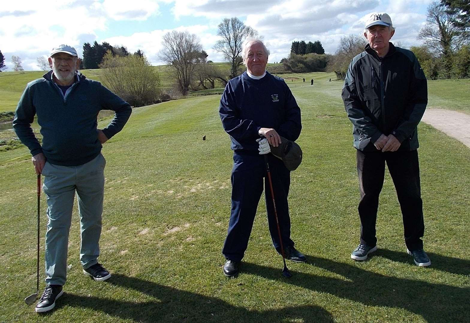 Vice-captain John Tummon and past captains Graham Hughes and Peter Henderson on the 10th tee.