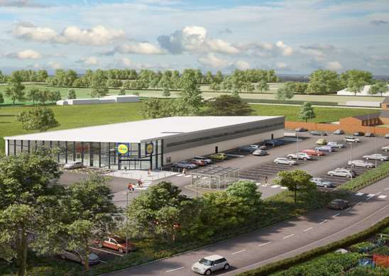 Artist's impression of the proposed new Lidl store in Oakham EMN-160630-111903001