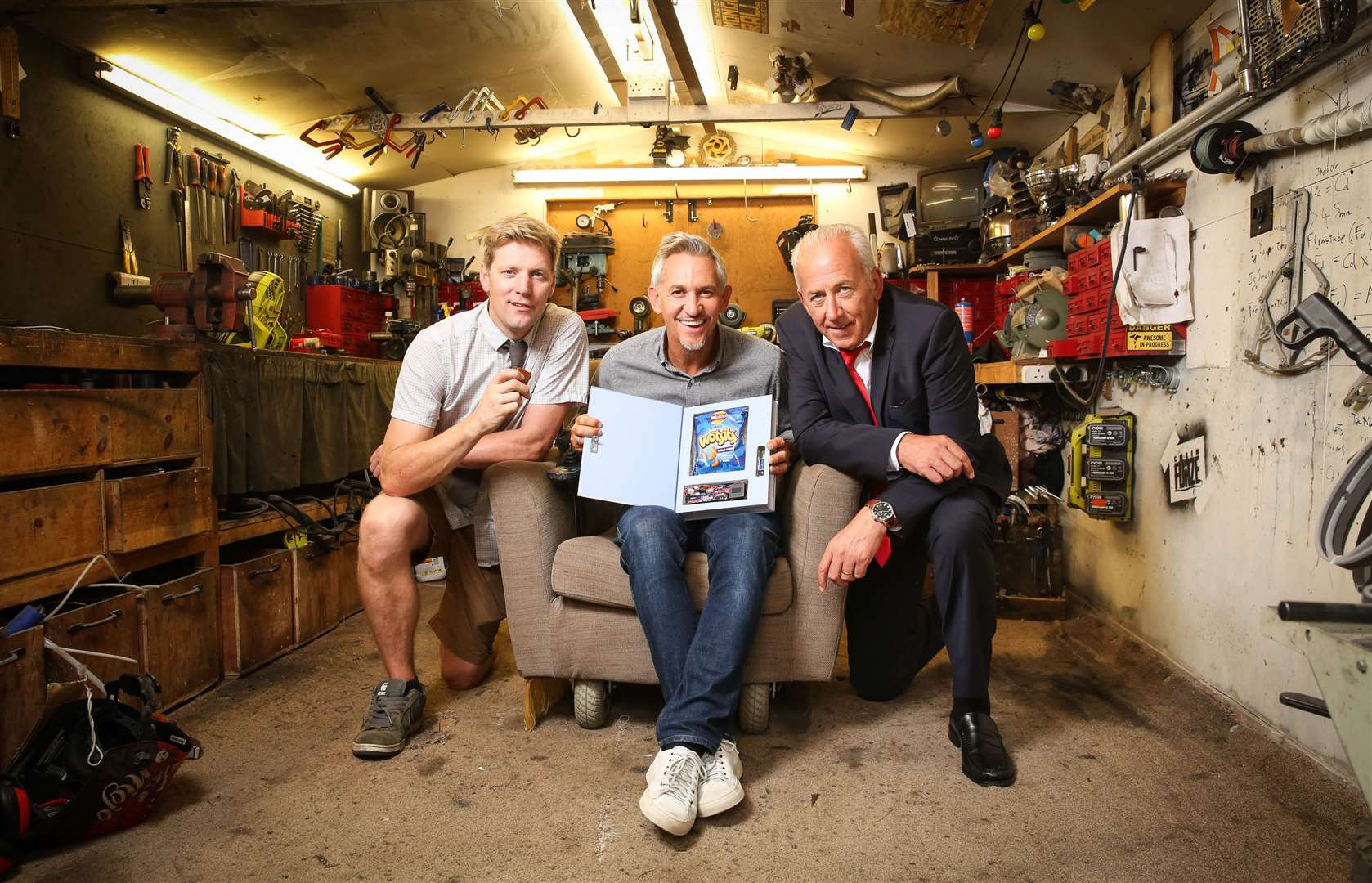 Colin Furze with Gary Lineker and Peter Bleksley