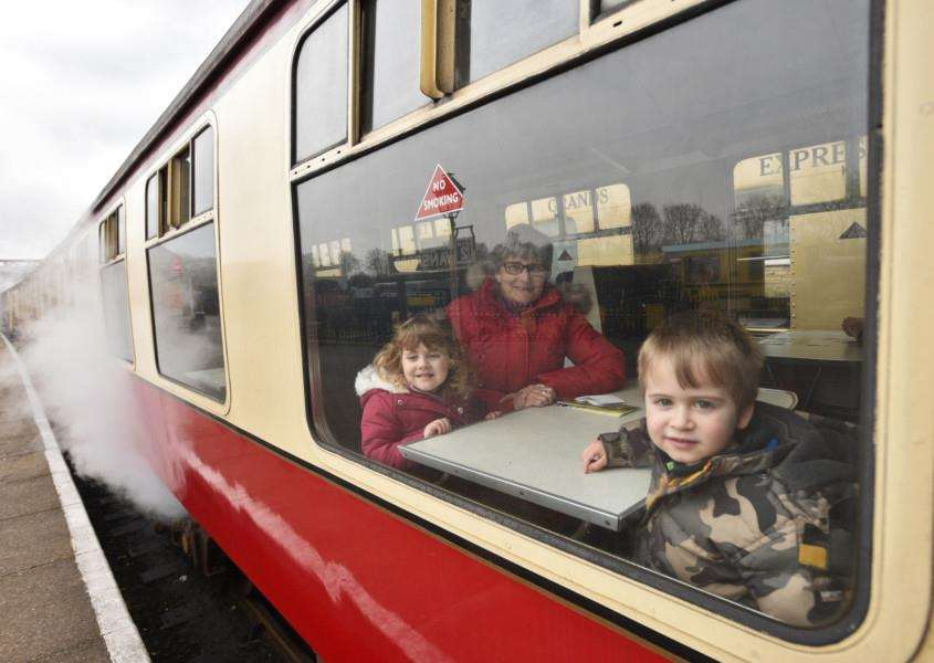 Nene Valley Railway , during half term break, James and Iris Millas (both 4, twins) taking a trip on a steam train EMN-160213-170308009
