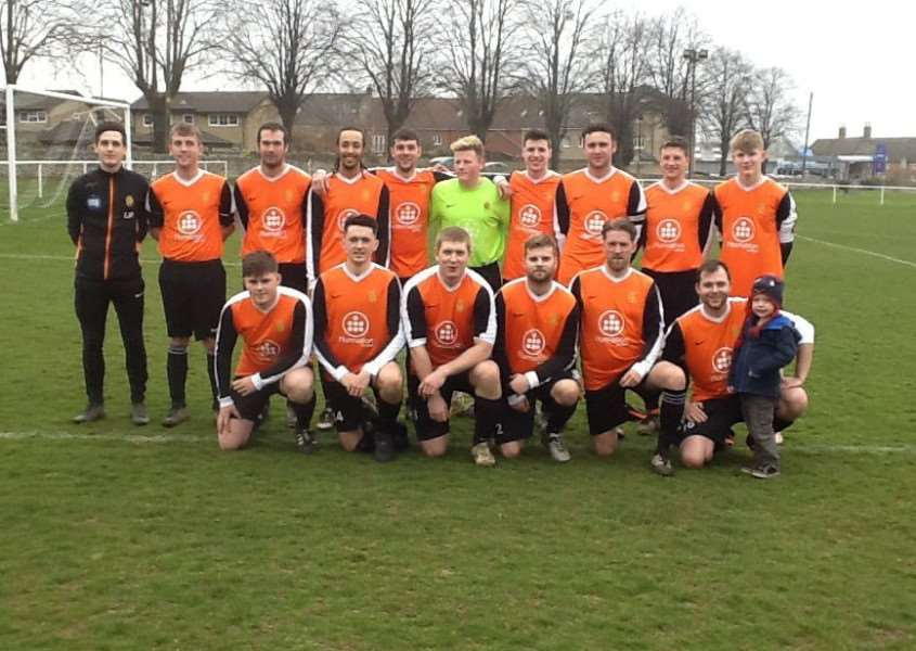 Stamford Bels are pictured before Saturday's Daniels Cup victory over Oundle Town. Photo: Malcolm Smith