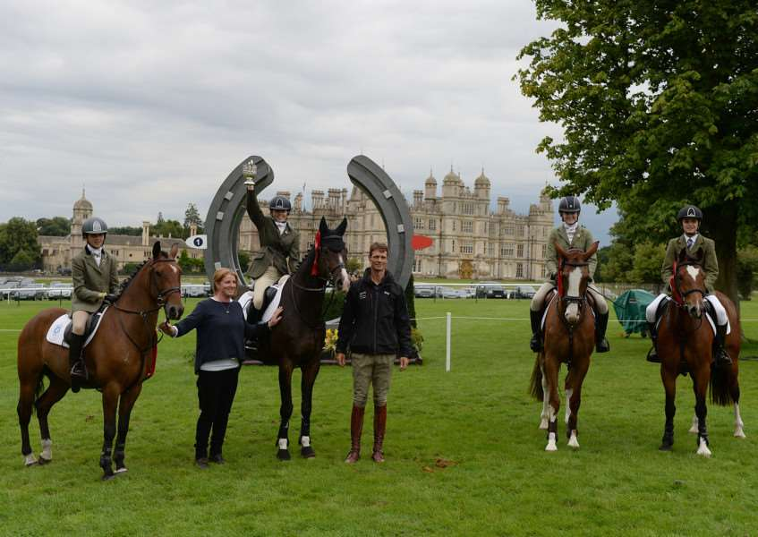 South Notts PC; (L to R, Ebony Sheppard on Kantijes Wizkid, Alsha Selby on Ronco, Millie Catley on Pandora and Charlie Catley on Abercombie) winners of the Pony Club Team Jumping during The Land Rover Burghley Horse Trials near Stamford in Lincolnshire, UK, on 2nd September 2015 EMN-150509-111806001