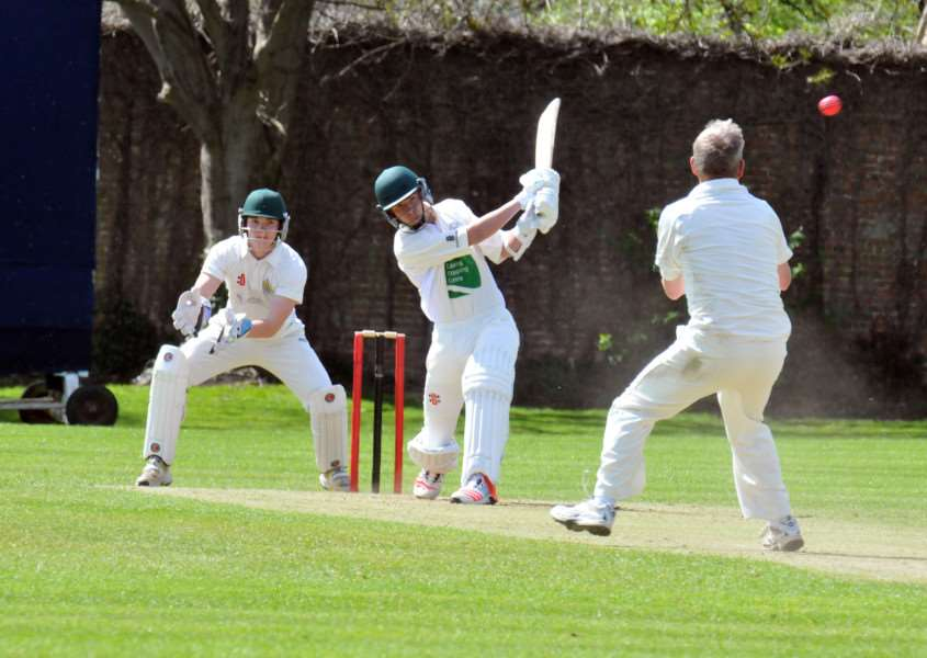 Abbey Lawn, Bourne - cricket action all day (4 matches). Winkworth Cup group games with Bourne, Market Deeping and Spalding'Deeping (batting) v Spallding game'Richard Whit ANL-150405-175844001