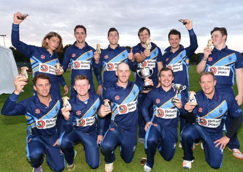 The winning Bourne team celebrate their Jaidka Cup Final success. Photo: David Lowndes.