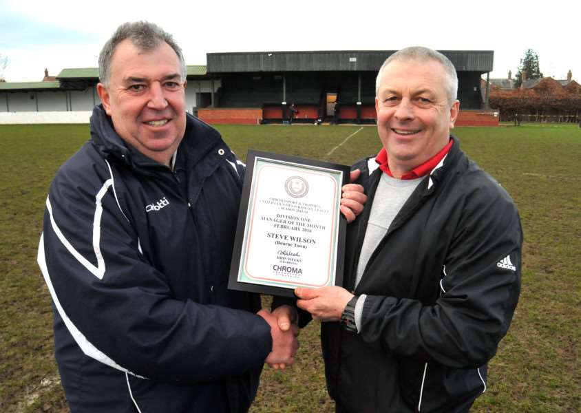 Bourne v Burton Park Wanderers'Co Chairman Steve Elger and manager Steve Wilson with award ANL-160603-123923001
