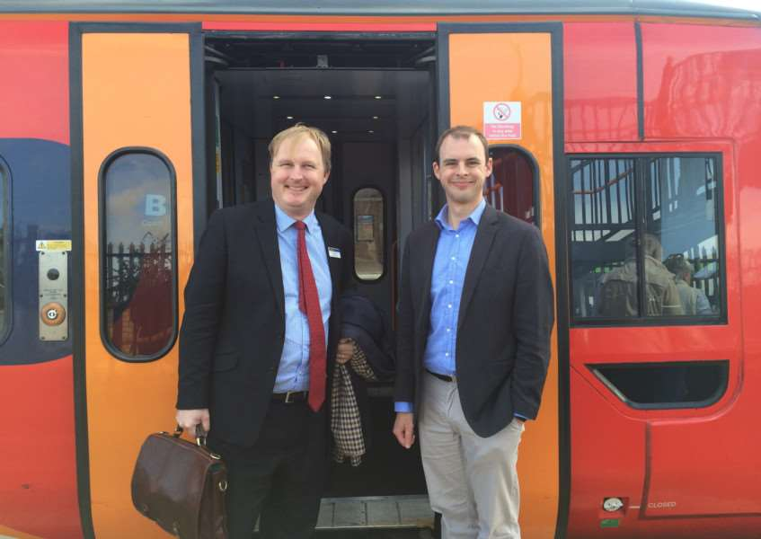 East Midlands Trains managing director Jake Kelly with MP for Boston and Skegness Matt Warman.