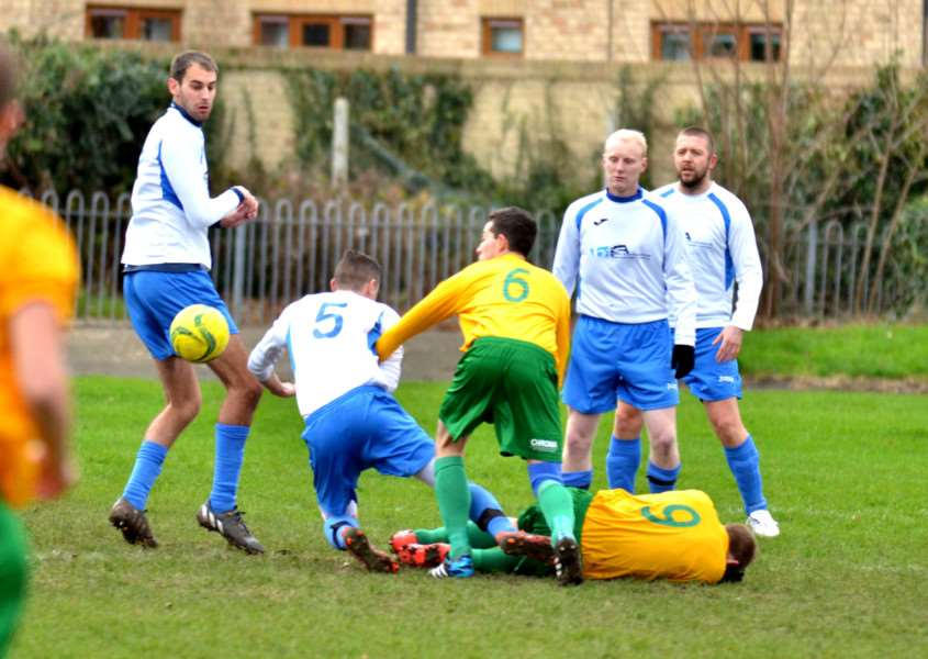 Castle Sports Complex - football action Spalding Town v Oakham United Reserves ANL-150612-121522001
